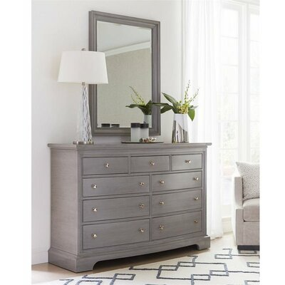 Transitional 9 Drawer Dresser with Mirror
