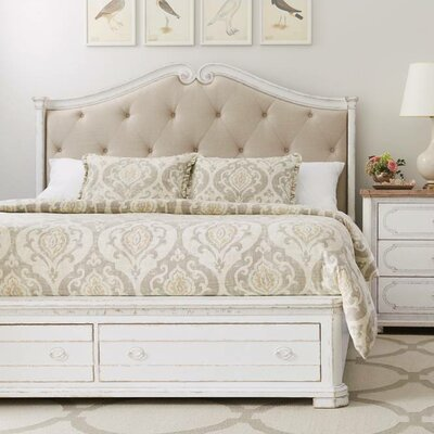 Juniper Dell Upholstered Storage Panel Bed Size: California King, Color: 17th Century White