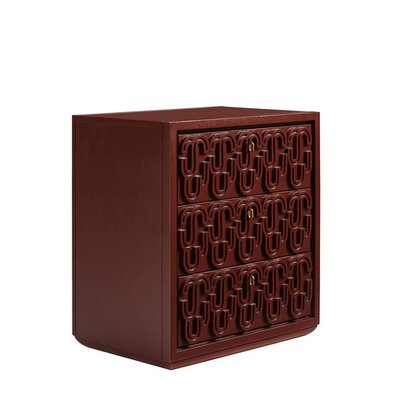 Havana Crossing Cadena 3 Drawer Nightstand Color: Masonic Red