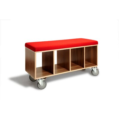 Wood Storage Bedroom Bench Finish: Walnut, Color: Red