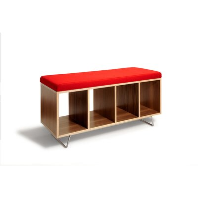 Wood Storage Bedroom Bench Color: Red, Finish: White