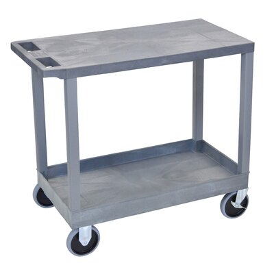 Luxor E Series Heavy Duty Utility Cart with 1 Tub/1 Flat Shelves - Color: Gray