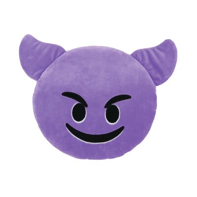 Kalia Smiling Face with Horns Throw Pillow