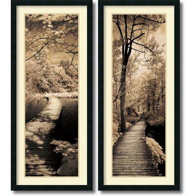 'A Quiet Stroll' 2 Piece Framed Photographic Print Set
