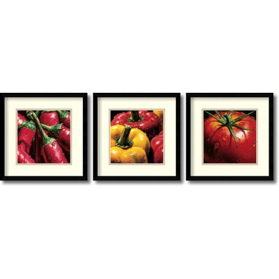 'Vegetable' by Alma'Ch 3 Piece Framed Painting Print Set