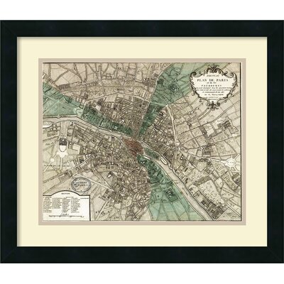 'Plan de Paris' by Vintage Reproduction Framed Graphic Art DSW992035