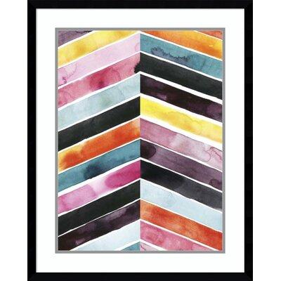 'Vivid Watercolor Chevron I' Framed Print on Wood