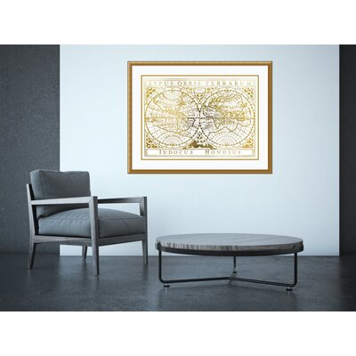 'Gold Foil Vintage Map' Framed Graphic Art Print on Wood