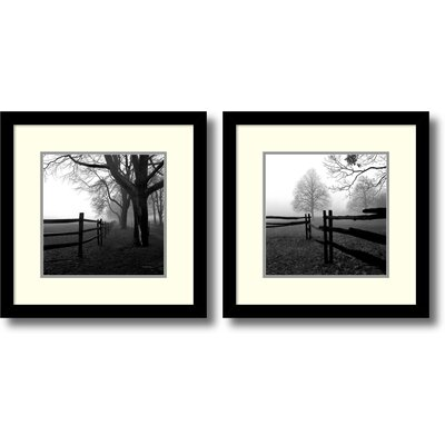 'Corner Fence in The Mist' by Harold Silverman 2 Piece Framed Photographic Print Set