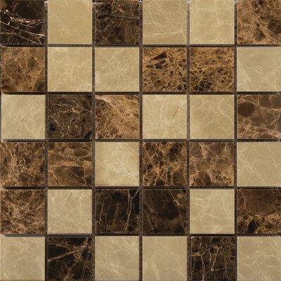 "Natural Stone 2"" x 2"" Marble Polished Mosaic in Emperador Light/Emperador Dark"