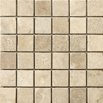 Travertine 2 x 2/12 x 12 Vino Tumbled Mosaic Tile in Cream