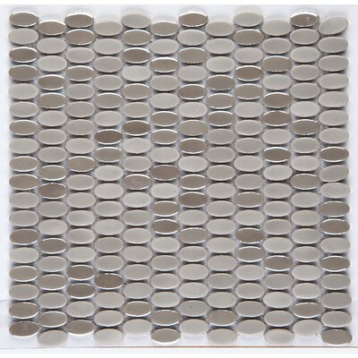 Confetti Porcelain Oval Mosaic Tile in Glazed Ancient Tumbled Mocha