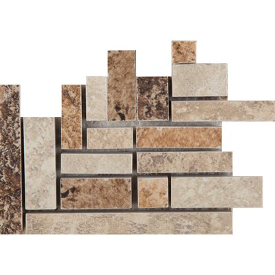 Taverna Porcelain Listello Random Sized Corner Mosaic Tile in Brown