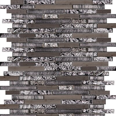 Lucente 12 x 13 Glass Stone Blend Linear Mosaic Tile in Reach