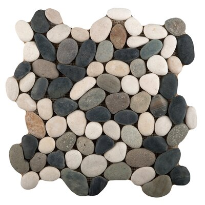 Venetian Pebbles 12 x 12 Mosaic Tile in Natural Texture Matte White