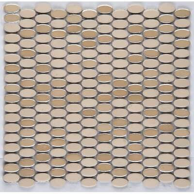 Confetti Porcelain Oval Mosaic Tile in Glazed Linen