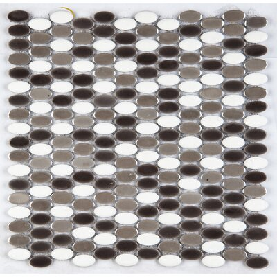 Confetti Porcelain Oval Mosaic Tile in Glazed White Polished