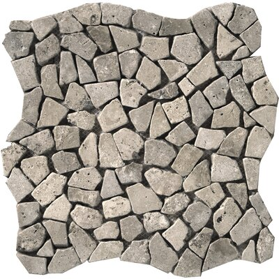 Travertine 12 x 12 Pebble Mosaic in Silver