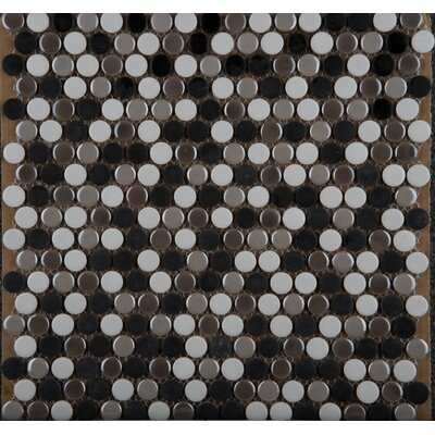 Confetti Porcelain Penny Mosaic Tile in Glazed Chiseled Umbia Savera