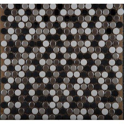 Confetti Porcelain Penny Mosaic Tile in Glazed Chiseled Umbia Savera
