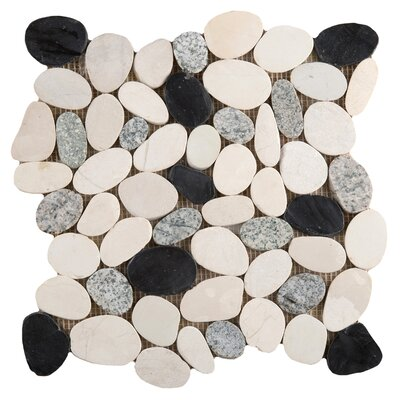 Flat Venetian Pebbles 12 x 12 Mosaic Tile in Italia Blend