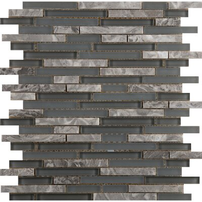 Lucente 12 x 13 Glass Stone Blend Linear Mosaic Tile in Concordia