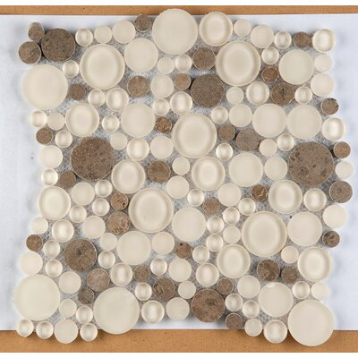Lucente 12 x 12 Glass Stone Blend Circle Mosaic Tile in Lido
