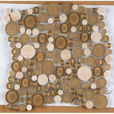 Lucente 12 x 12 Glass Stone Blend Circle Mosaic Tile in Murano
