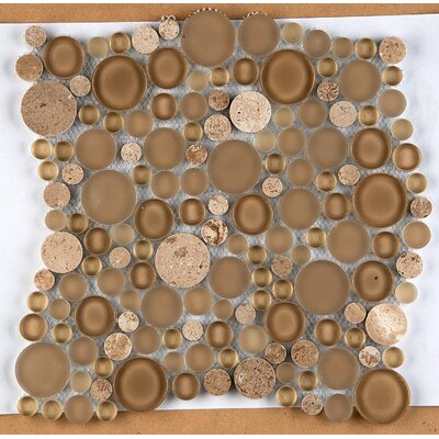 Lucente 12 x 12 Glass Stone Blend Circle Mosaic Tile in Regale