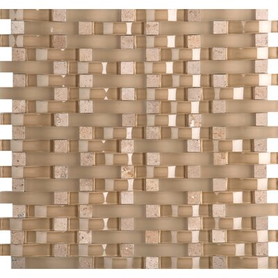 Lucente 12 x 13 Glass Stone Blend Wave Mosaic Tile in Regale