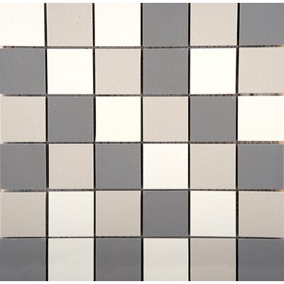 Times Square Porcelain Cube Mosaic Tile in Black White and Gray