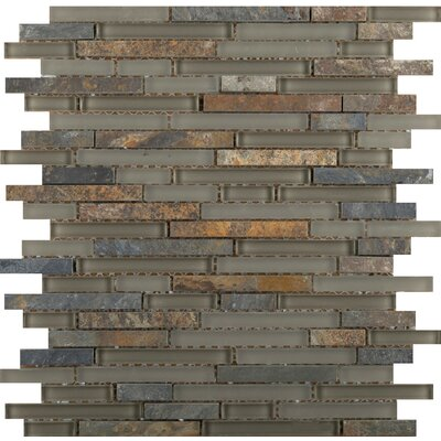 Lucente 12 x 13 Glass Stone Blend Linear Mosaic Tile in Rialto