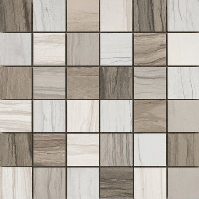 Motion 13 x 13 Porcelain Mosaic Tile in Gray/Ivory
