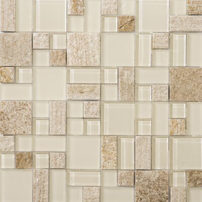 Lucente 13 x 13 Glass Stone Blend Pattern Mosaic Tile in Servolo