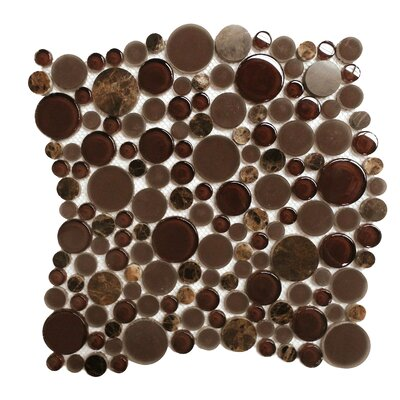 Lucente 12 x 12 Glass Stone Blend Circle Mosaic Tile in Vetro