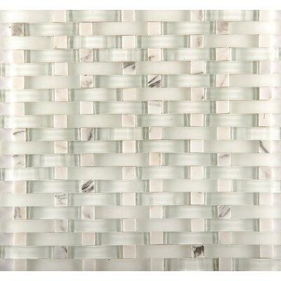 Lucente 12 x 13 Glass Stone Blend Wave Mosaic Tile in Ambrato
