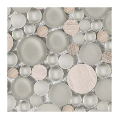 Lucente 12 x 12 Glass Stone Blend Circle Mosaic Tile in Certosa