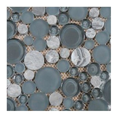 Lucente 12 x 12 Glass Stone Blend Circle Mosaic Tile in Concordia