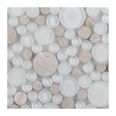 Lucente 12 x 12 Glass Stone Blend Circle Mosaic Tile in Andrea