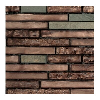 Lucente 12 x 13 Glass Stone Blend Linear Mosaic Tile in View