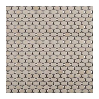 Confetti Porcelain Oval Mosaic Tile in Glazed Gray