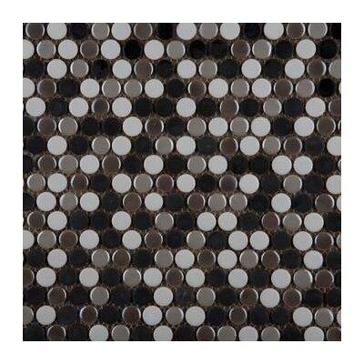 Confetti Porcelain Penny Mosaic Tile in Glazed Beige
