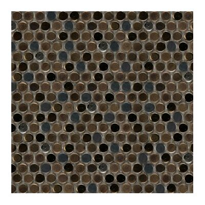 Confetti Porcelain Penny Mosaic Tile in Glazed Brown