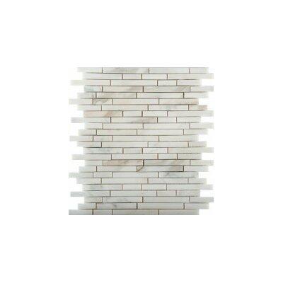 Marble 12 x 13 Linear Mosaic Tile in Calacata Oro