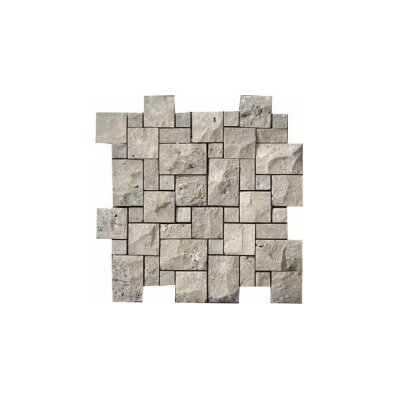 Travertine 12 x 12 Splitface Versailles Mosaic Tile in Silver