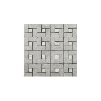 Marble 12  x 12 Pinwheel Mosaic Tile in Silver