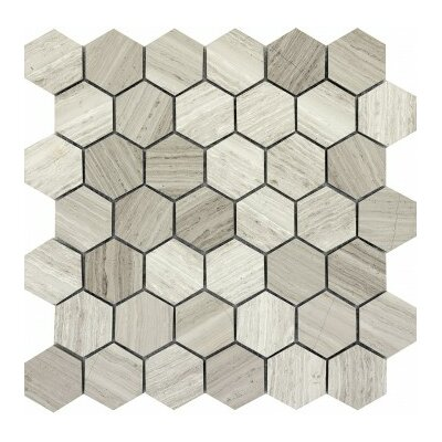 Metro 12 x 12 Limestone Large Hexagon Mosaic Tile in Cream