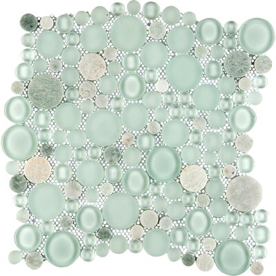 Lucente 12 x 12 Glass Stone Blend Circle Mosaic Tile in Lazzaro