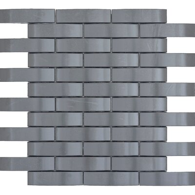 Gleam 11 x 12 Metal over Ceramic Wave Mosaic Tile in Graphite