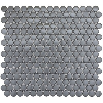 Gleam 12 x 12 Metal over Ceramic Penny Mosaic Tile in Graphite